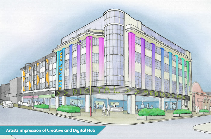 A Southport Town Deal artist's impression of how a creative and digital hub might look