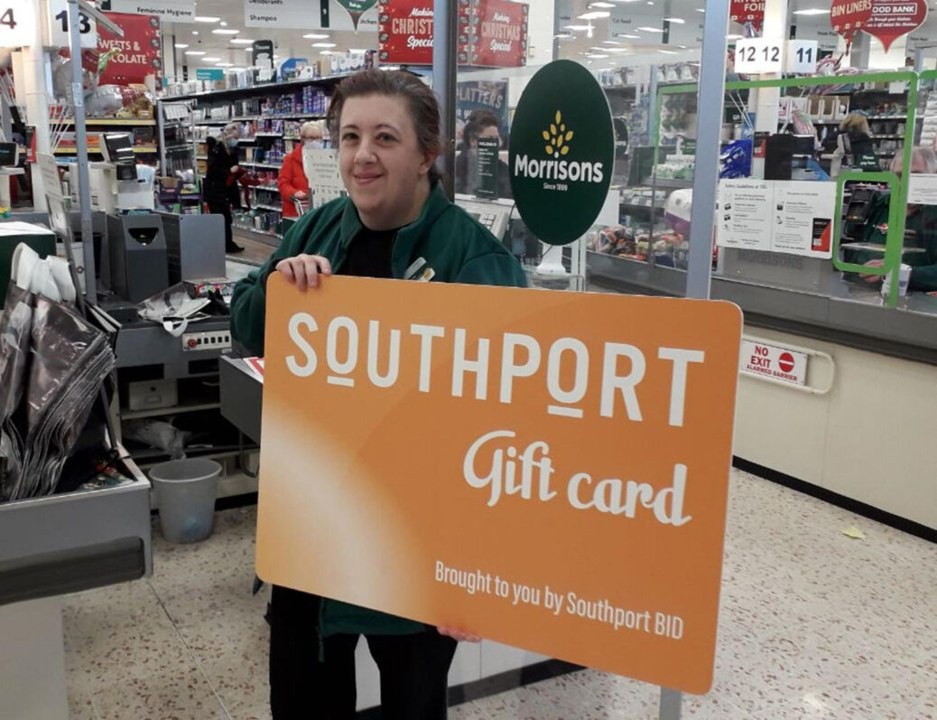 Southport Morrisons Community Champion Anna Ingram with the new Southport Gift Card