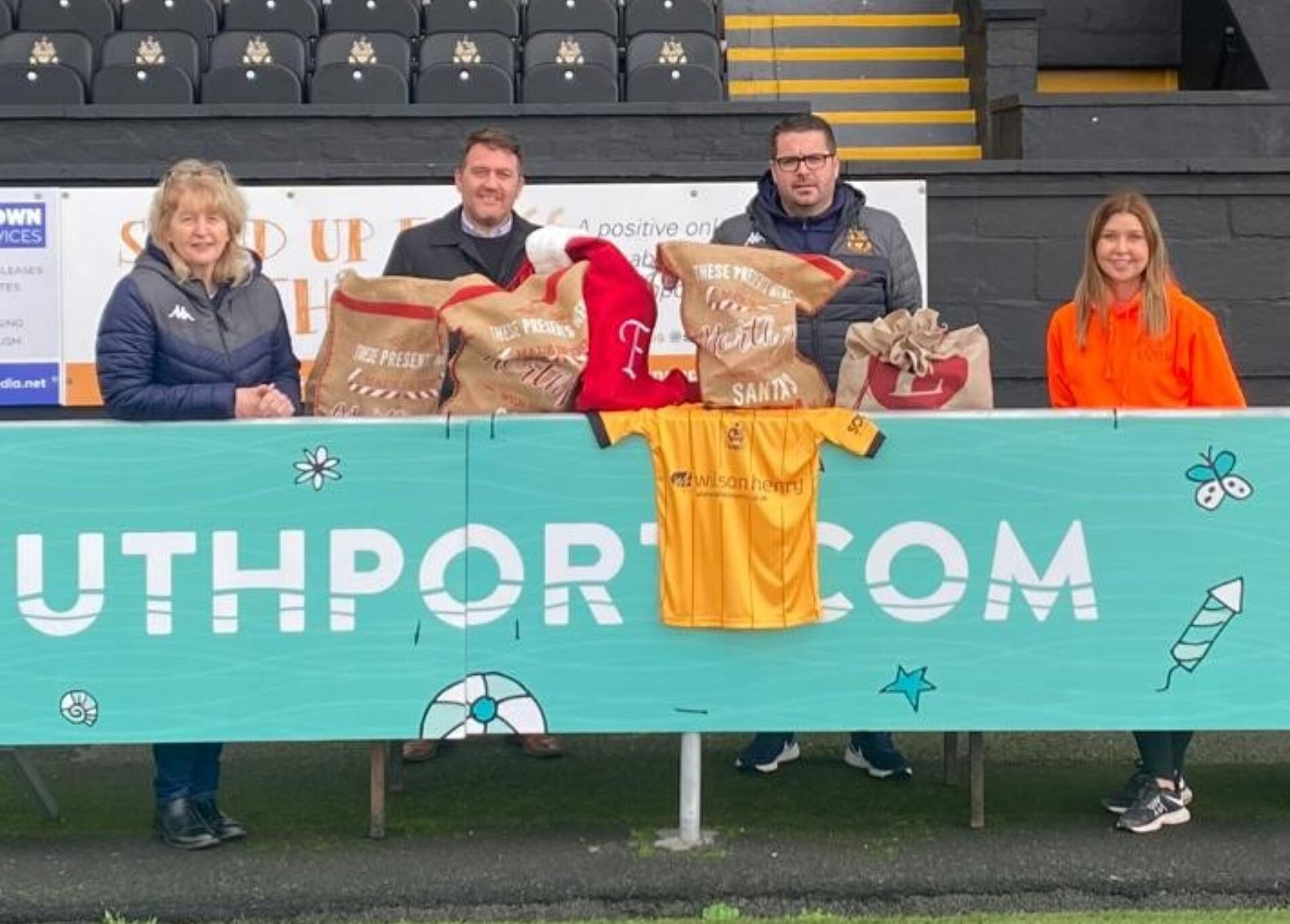 Southport Football Club and Southport Football Club Charity Foundation are delighted to partner with Express Performing Arts Academy and open their doors to act as a collection centre for the Southport Community Christmas Fill A Stocking Appeal. Pictured are Christine Classon, SFC Community Trust, Gavvin McGuire, P&F Churchtown, James Tedford Head Of Operations Southport FC and Danielle Clark Express Performing Arts Academy.