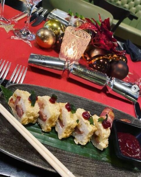 Turkey, Stuffing and Cranberry Sushi Rolls unveiled by Southport hotel as an alternative Christmas dinner!