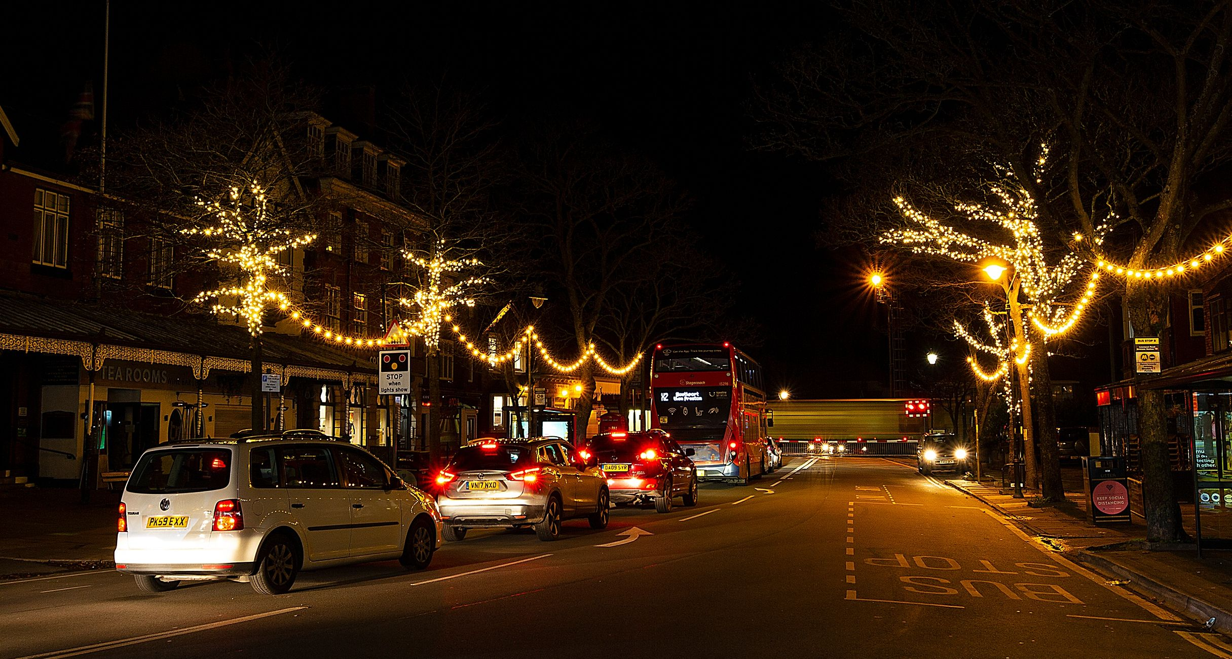 Christmas Lights in Birkdale Village in Southport. Photo by Angus Matheson of Wainwright & Matheson Photography