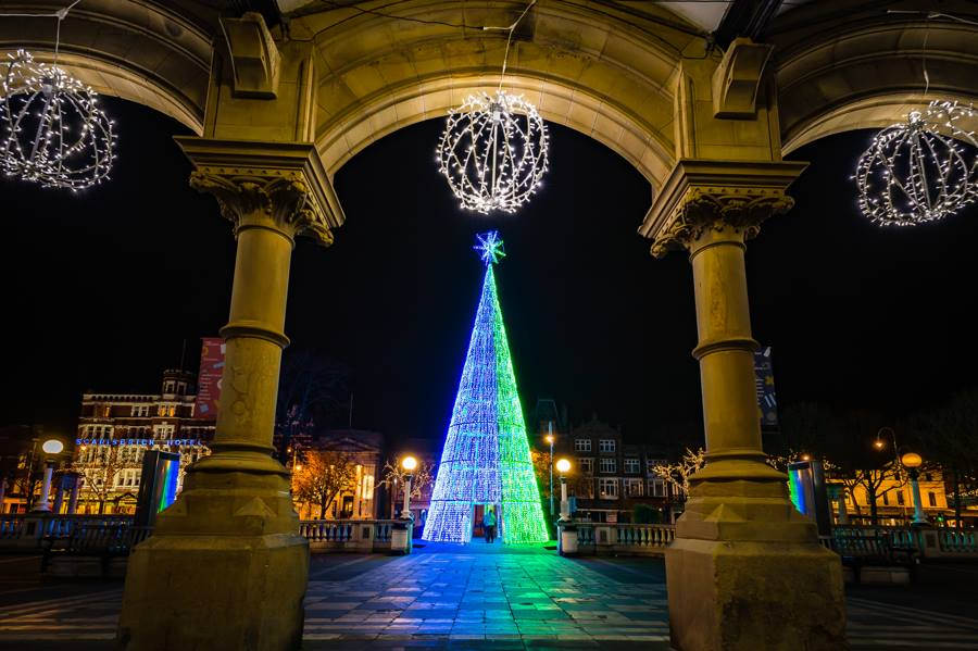 The Christmas tree provided by Southport BID outside The Atkinson on Lord Street in Southport