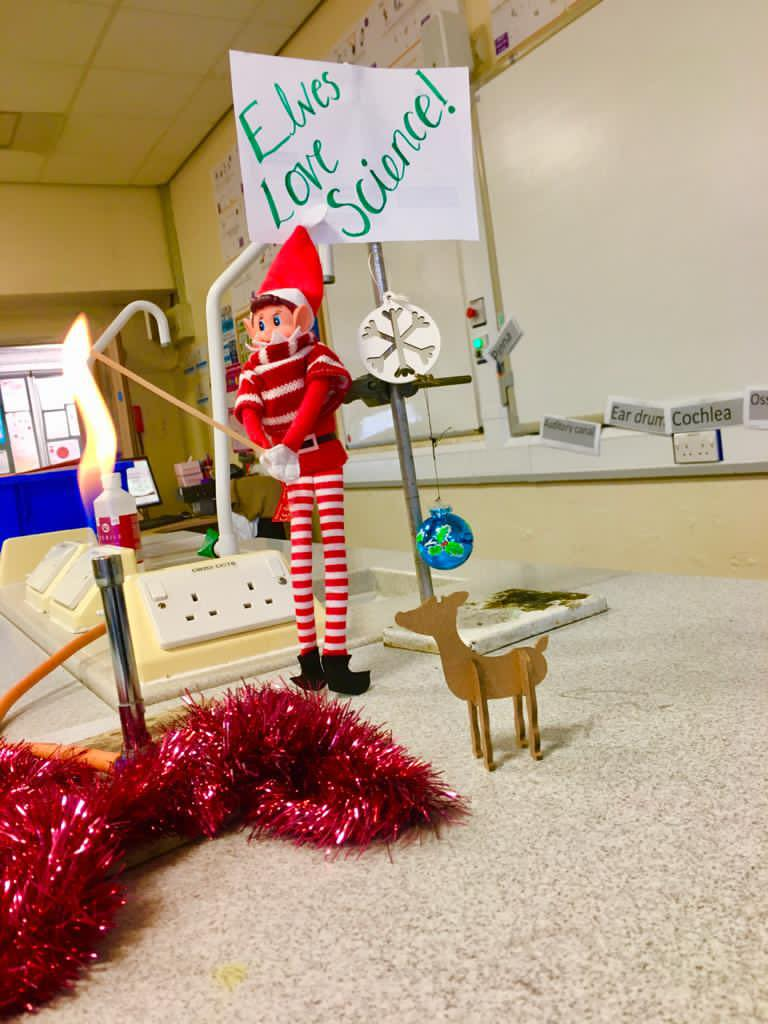 Elf On The Shelf enjoys a science experiment at Stanley High School in Southport