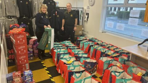 Southport FC volunteers busy preparing hampers for Fill A Family Stocking Appeal