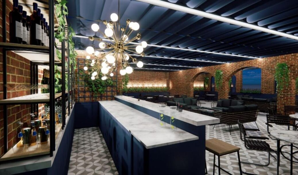 Concept images for the proposed new roof terrace with retractable roof at the Bold Hotel on Lord Street in Southport, designed by Clayton Architecture Limited
