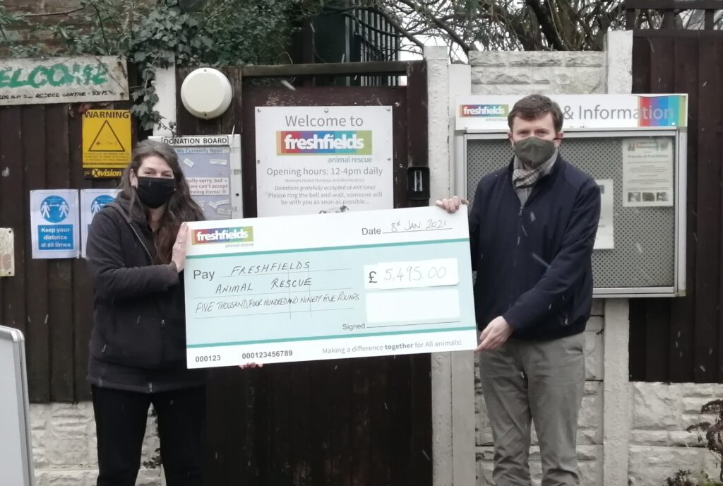 Local solicitor, Mike Prendergast of Dickinson Parker Hill Solicitors, has presented a cheque for £5,495 to Freshfields Animal Rescue following Charity Will Month