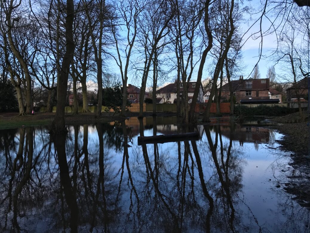 Flooding at Botanic Gardens in Churchtown in Southport. Photo by Andrew Brown Media