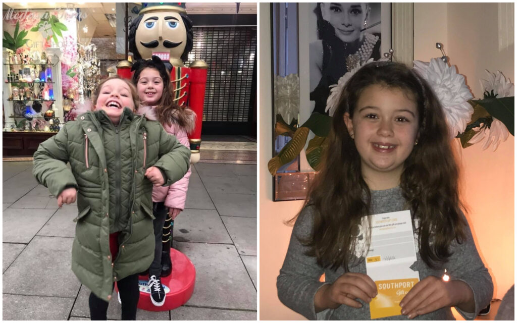 Franchesca and Gabby enjoy the Southport Nutcracker Trail which was created by Southport BID