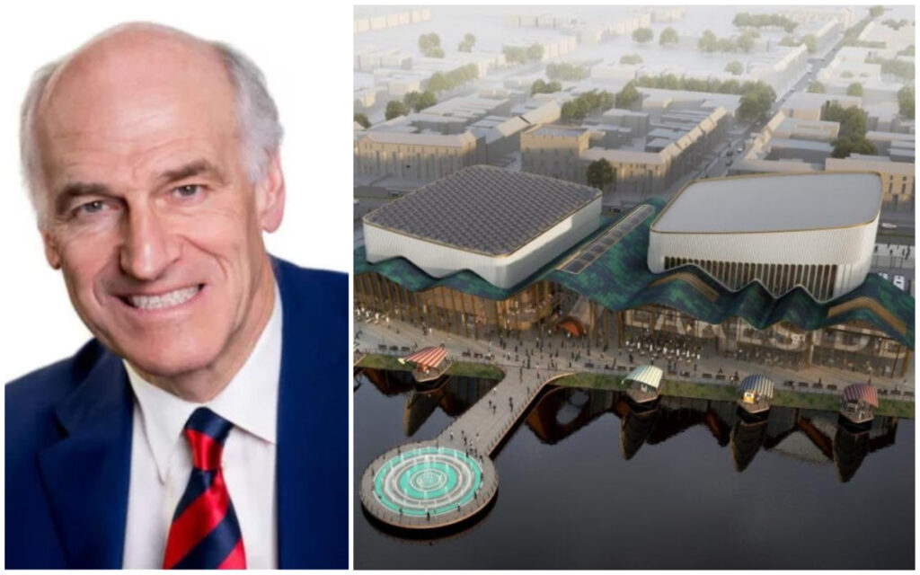 Southport Town Deal Chair Rob Fletcher (left), and an artist's impression of what the new Southport waterside events centre could look like