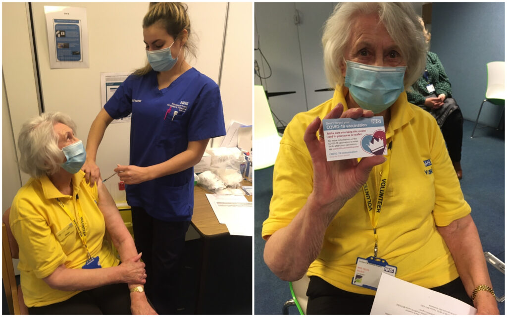 Volunteer Helen Wilson joined staff at Sourthport Hospital in receiving the Covid-19 vaccine from nurse Elenna Harden, one of the hospital's vaccinating team