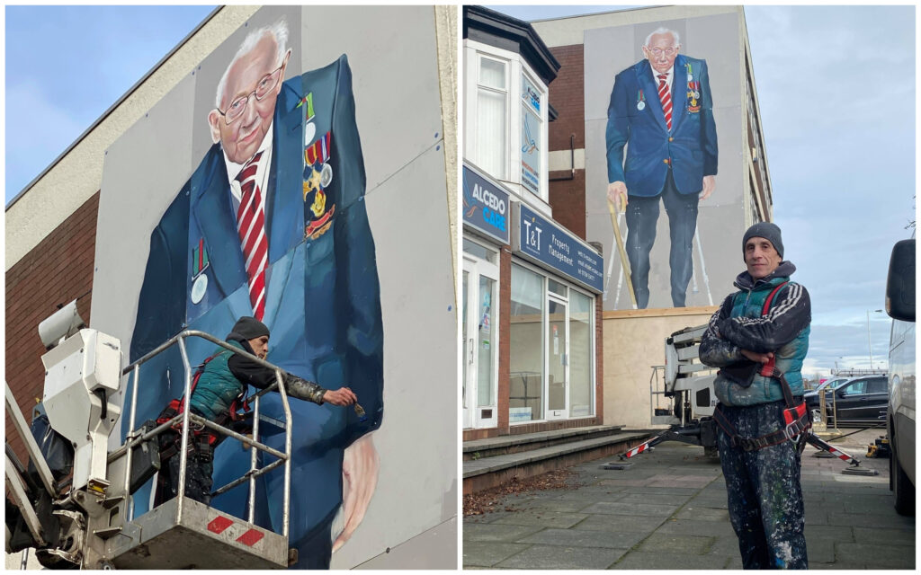 The mural of Captain Sir Tom Moore in Southport painted by artist Robert Newbiggin