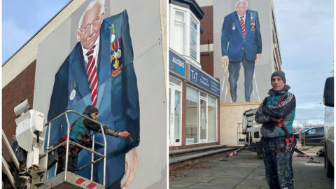 World's biggest Captain Sir Tom Moore mural artist pays tribute to inspirational hero