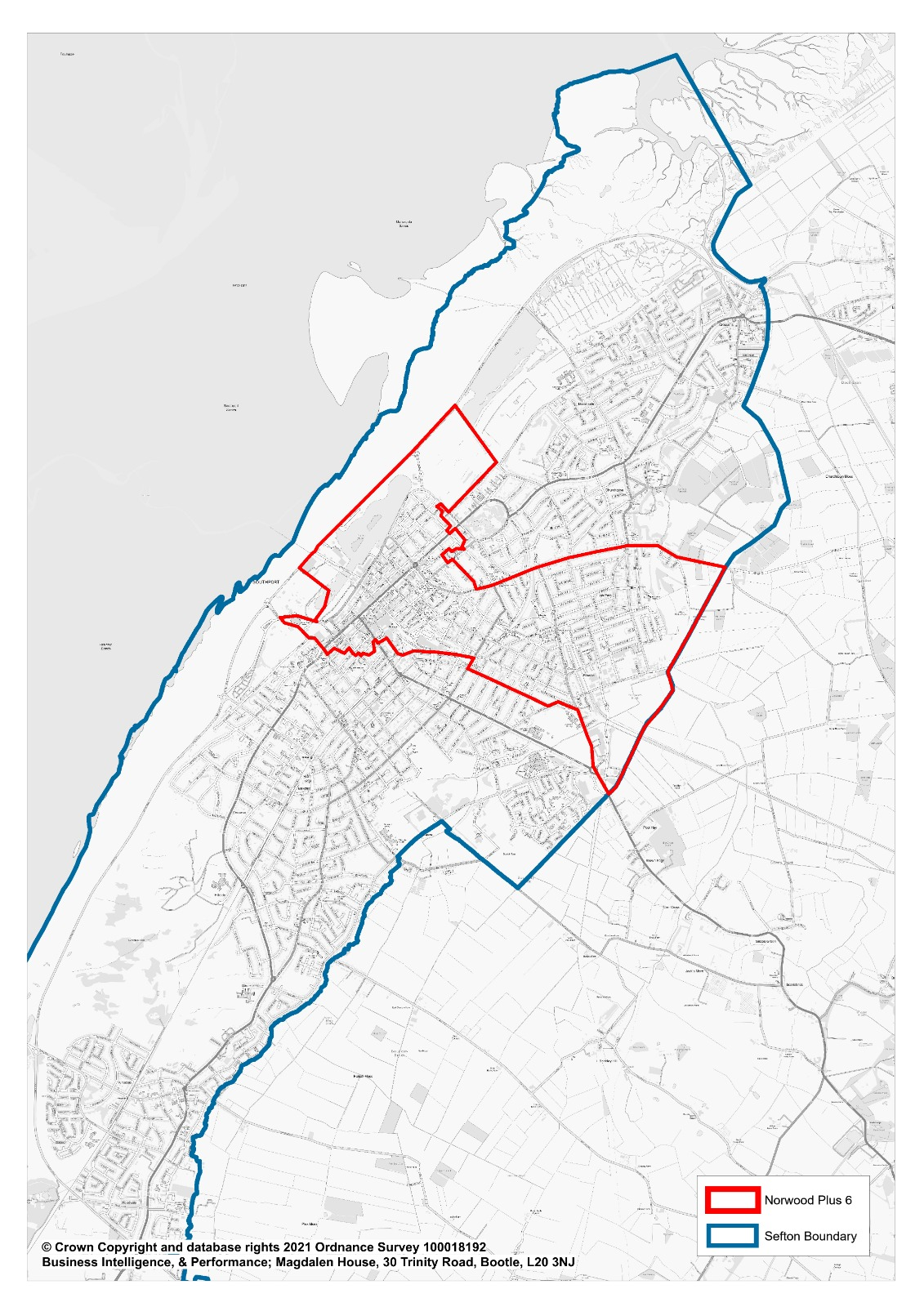 The area (in red) being targeted by Sefton Council for surge testing of the South African Covid-19 variant