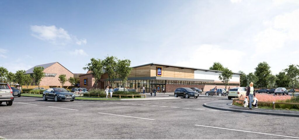 A CGI of the new Aldi supermarket in Tarleton