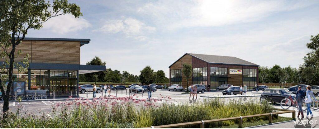 A CGI of the new Aldi supermarket development in Tarleton