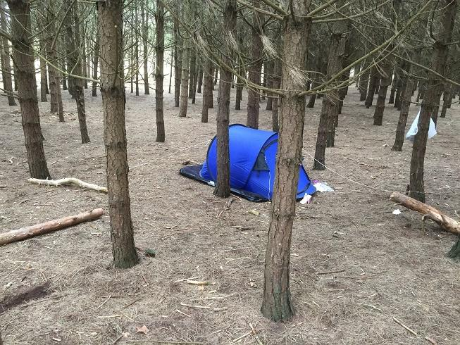 Two suspects have been processed by the Police for illegally camping, littering and trying to BBQ in the woodlands on the Formby National Trust Site