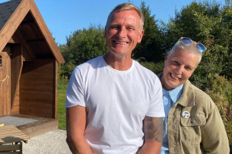 Carl Insley and best friend Sharon O'Love at Driftwood Luxury Lodges, a glamping site in the picturesque village of Dale Abbey in Derbyshire, starred in Four in a Bed on Channel 4