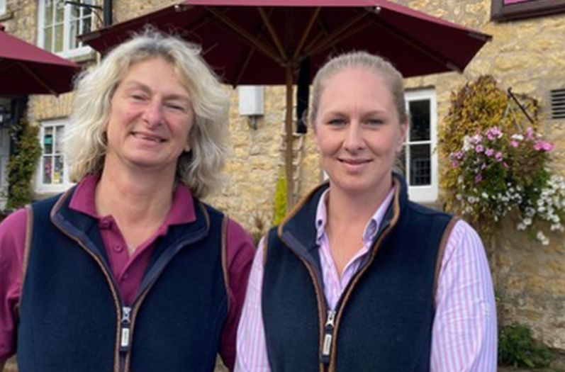 Mother-daughter duo Annalies and Claudia outside their B&B The Fauconberg Arms in Yorkshire, featured on Four in a Bed (Image: Channel 4)