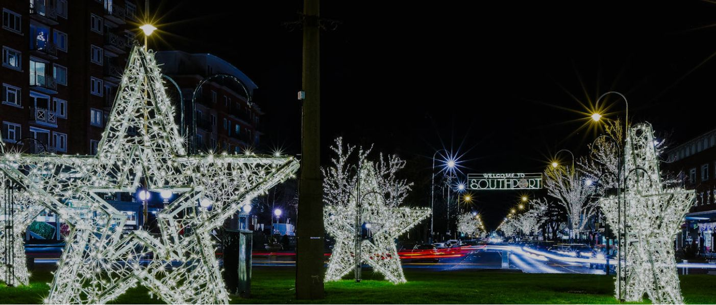 Christmas decorations on Lord Street in Southport created by Illumidex UK Ltd
