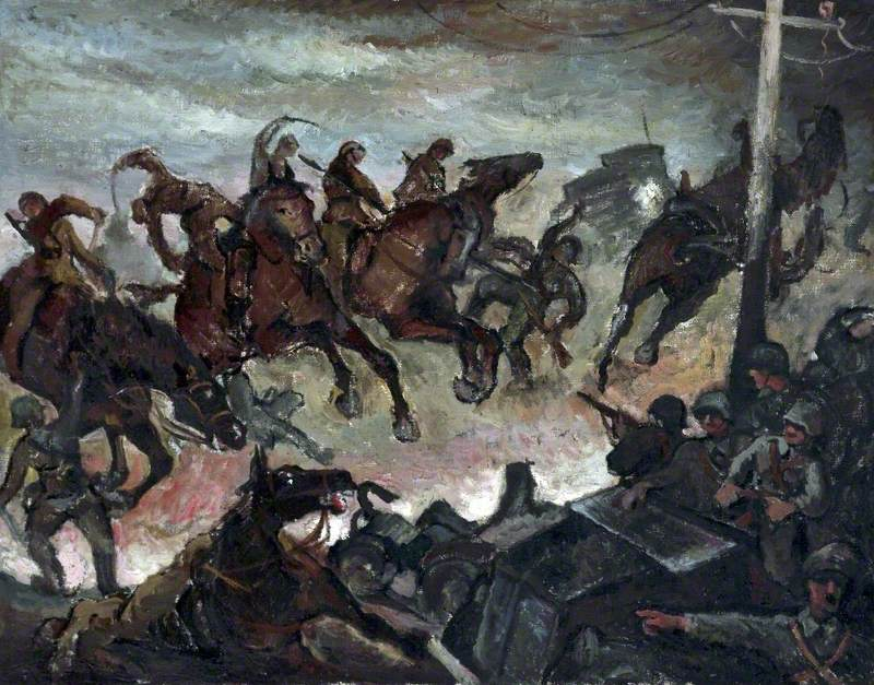 Mikula, Stanislaw; Polish Cavalry Charge, 1939; Atkinson Art Gallery Collection, Southport