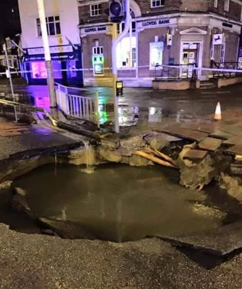 The sinkhole which appeared on the corner of Cambridge Road and Preston New Road in Churchtown in Southport on 13 March 2015. Photo by Tanya Preece