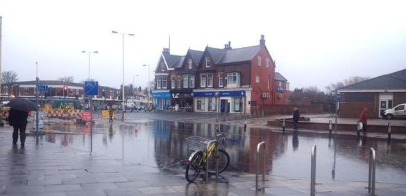 The sinkhole which appeared on the corner of Cambridge Road and Preston New Road in Churchtown in Southport on 13 March 2015. Photo by Kate Eccles