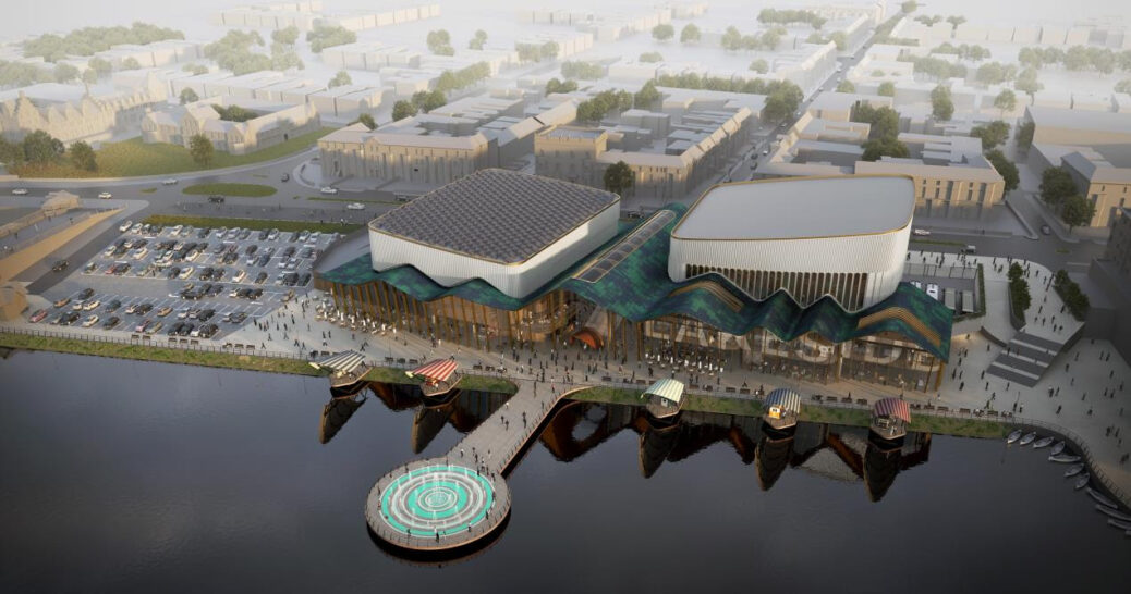 An artist's impression of the proposed waterside events centre in Southport, which is proposed as part of Southport Town Deal