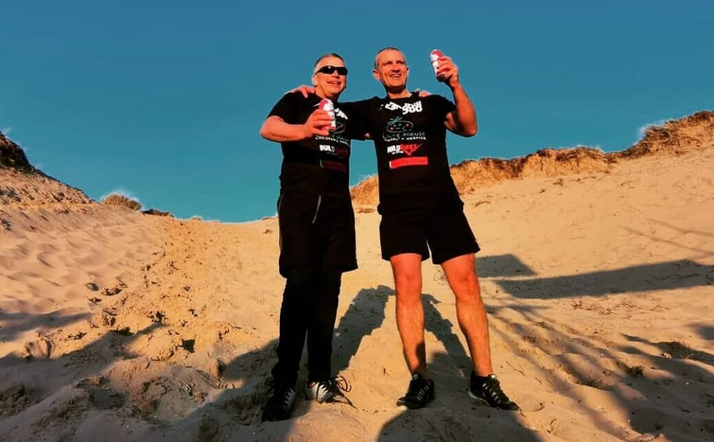 Jonny Johnstone and Colin Reilly completed the Sandhill 500 in Southport to raise thousands of pounds for Claire House childrens hospice in Wirral