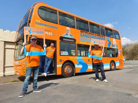 Sandgrounder Shuttle launched with Peoples Bus during sunny weekend at Southport Pleasureland