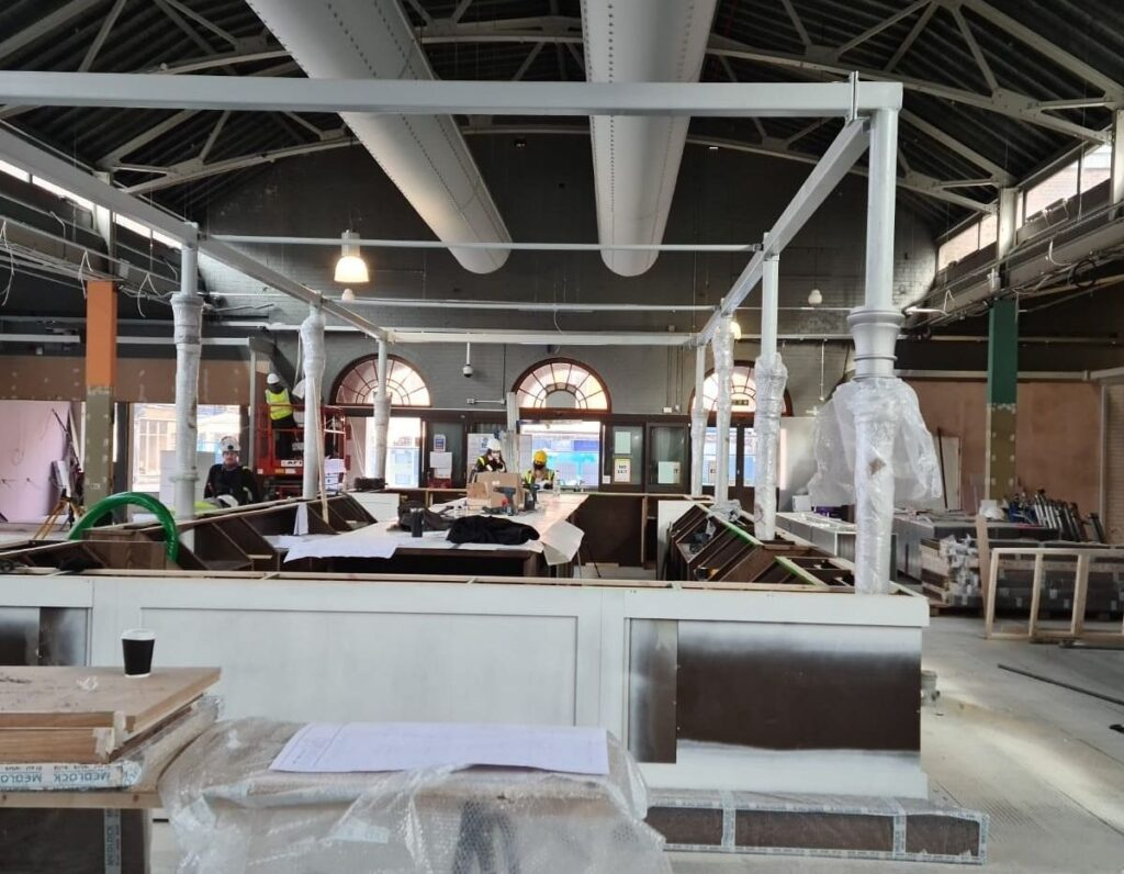 Work is taking place to create a new feature bar in the centre of Southport Market