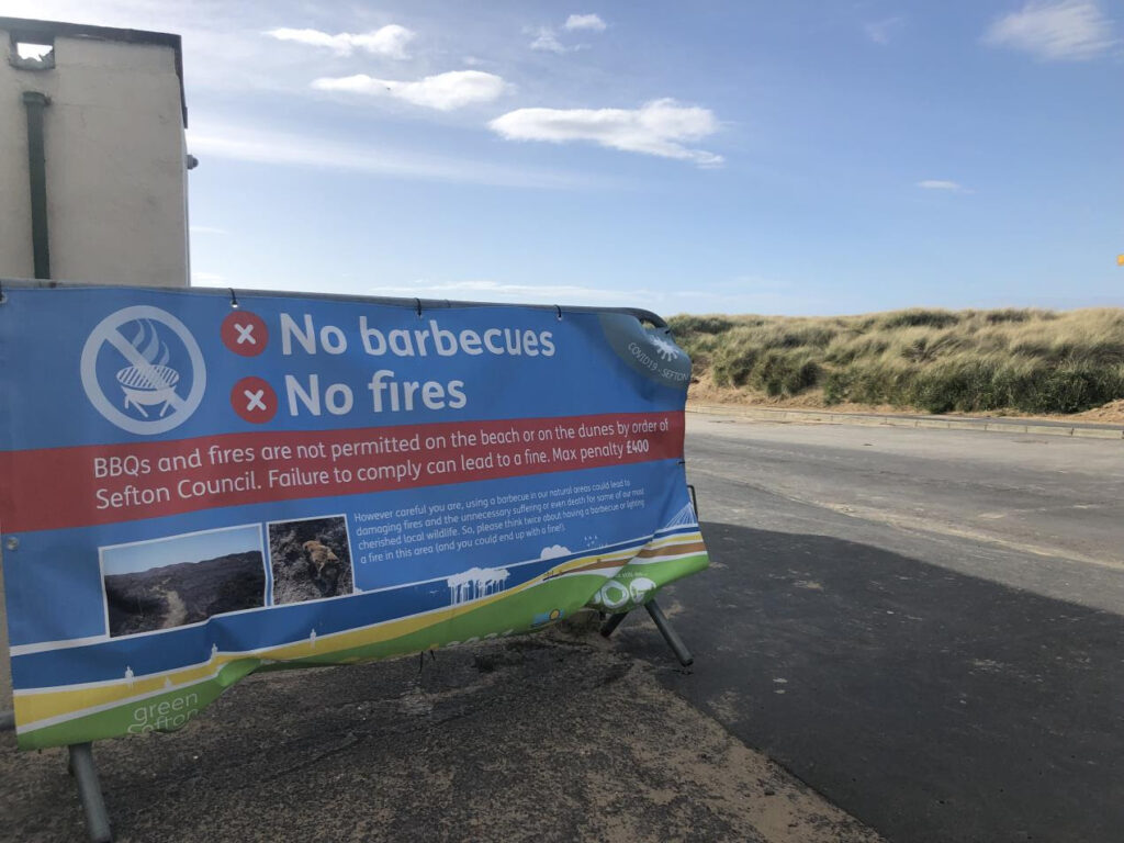 One of Sefton Council's safety banners at Ainsdale Beach in Southport. Photo by Sefton Council