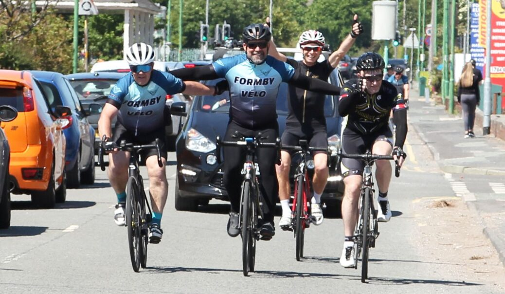 Members of Formby Velo, Merseyside Police and fellow supporters completed a 24 hour bike ride in memory of police inspector Graeme Rooney to raise money for Everton In The Community. Photo by Brendan Riley