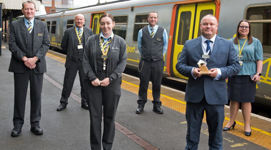 Merseyrail Golden Whistle 2021 (for performance in 2020) - L-R Mike Heywood, Driver Dave Hurst, Guards Manager Dionne Gray, Guard Paul Greenway, Station Retailer Dave Stamper, Head of Performance and Zoe Hands, Chief Operating Officer