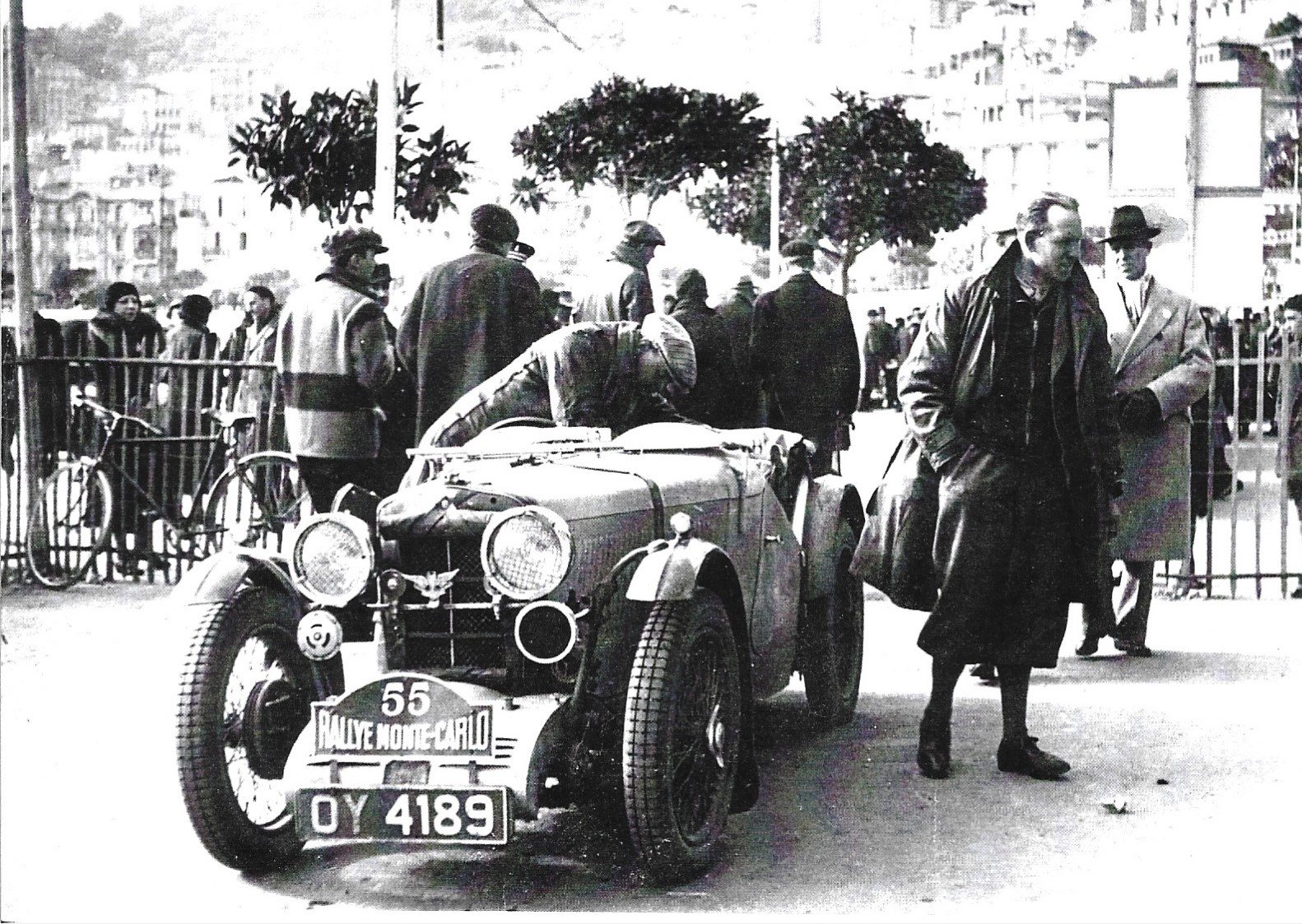 The MG J3 in January 1933. Platt and Archer arrive in Monaco after 2,000 miles of snow and ice from John O'Groats - the worst weather for many years. Note the winged badge in front of the radiator. This is the Southport Motor Racing Club Badge which Nev Churcher is keen to obtain. Mr Platt was an officer of the club, and the car went on to win many events at Southport