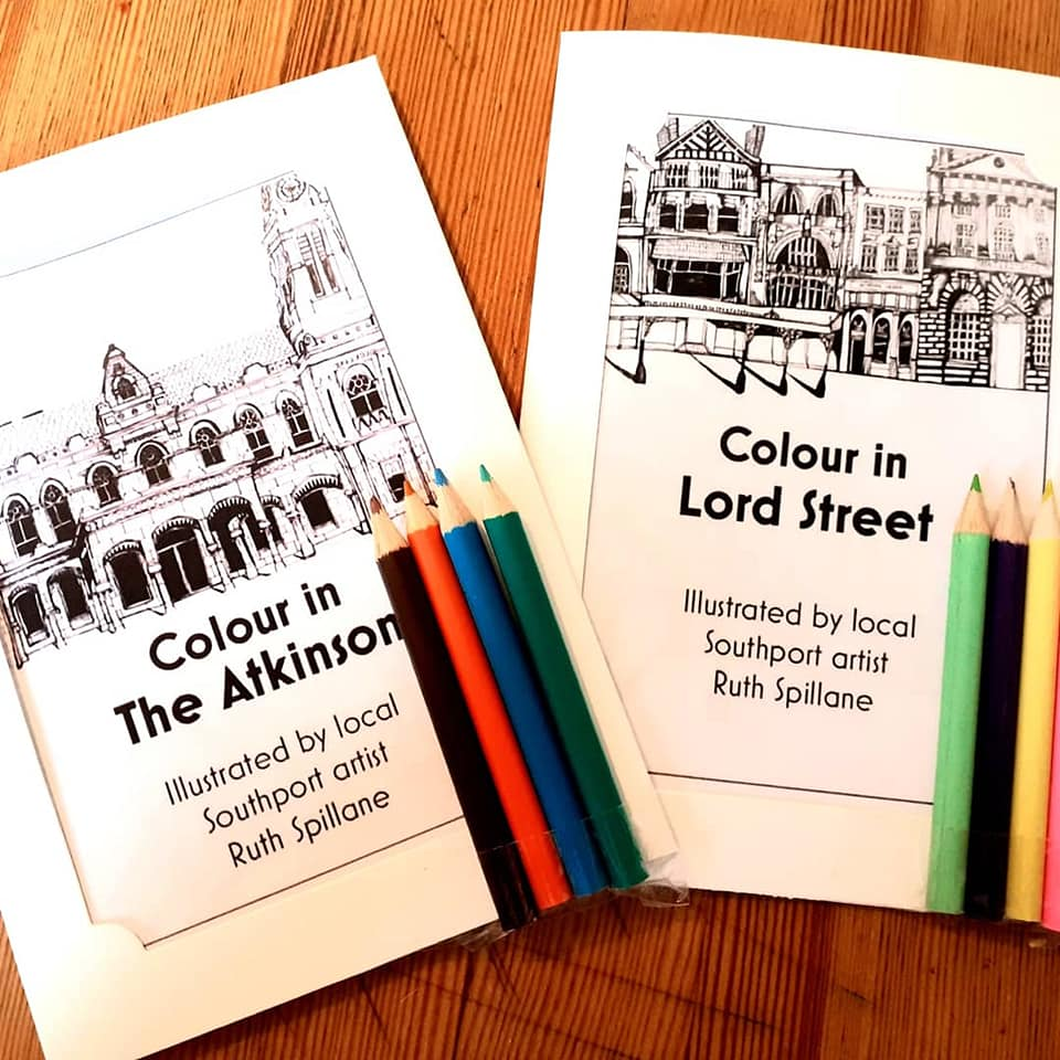 Local artist Ruth Spillane has created beautifully detailed colouring books of Lord Street and The Atkinson in Southport