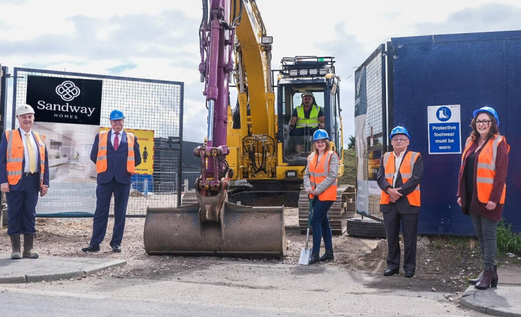 From left: Tim Webber MBE, MD & Chairman of Barnfield Group; Christian Rogers, MD Sandway Homes; Cllr Trish Hardy; Cllr Ian Maher; Sandway Board member Cllr Diane Roscoe