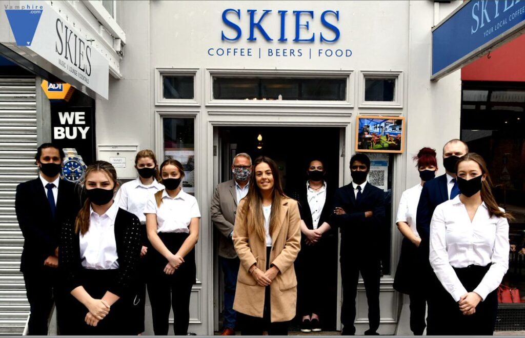 Everton WSL star Simone Magill officially opened the bar area of the Skies bar on Lord Street in Southport. Photo by VAMPHire.com