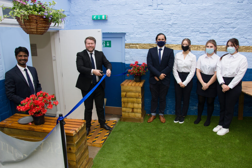 Southport MP Damien Moore was invited to officially open the new outside area at Skies on Lord Street in Southport. Photo by VAMPHire.com