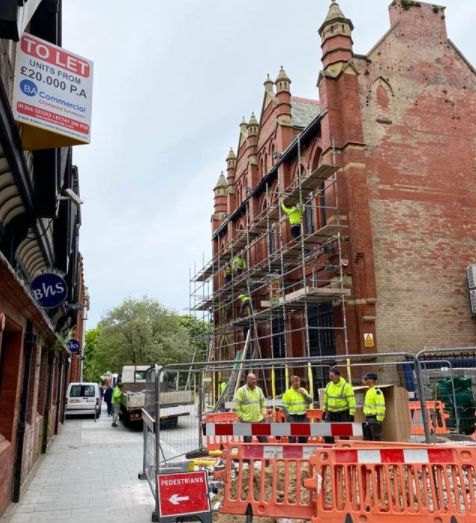 The scaffolding is up as work takes place at the new HQ for Techedia, at the Cloisters building on Corporation Street in Southport