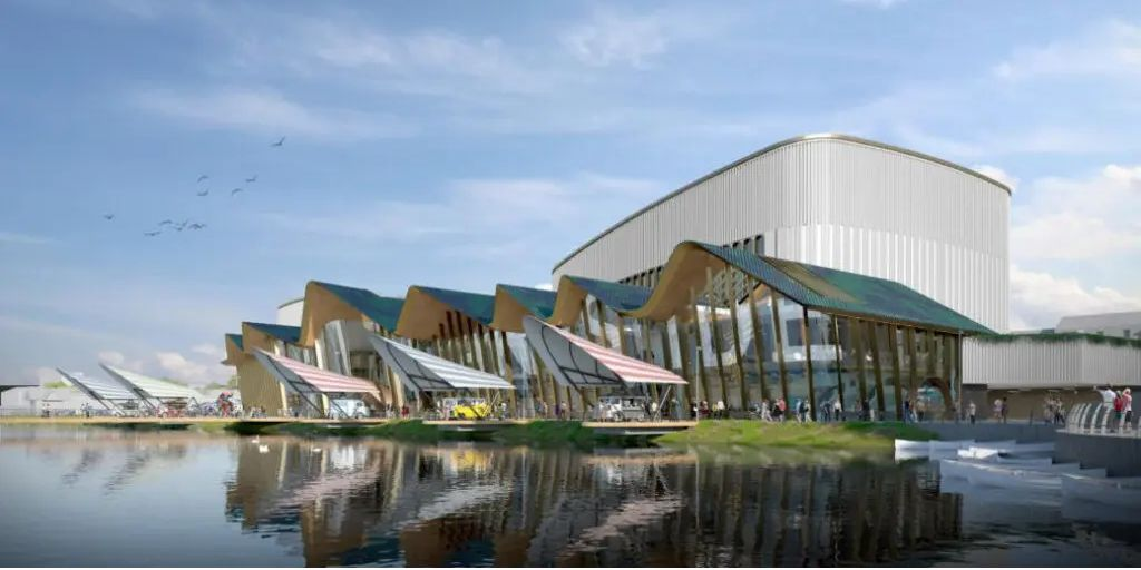 An artist's impression of the proposed waterside events centre in Southport Town Deal
