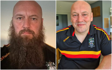 Rugby coach who grew beard for a YEAR during lockdown shaves it off for Queenscourt Hospice