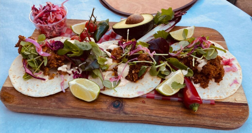Buttermilk Chicken Tacos at Hector's Mexicana at Southport Market