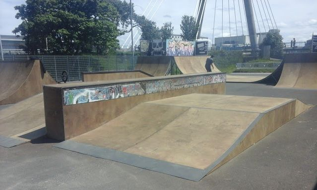 Newly refurbished Funbox ramp at Southport Skate Park