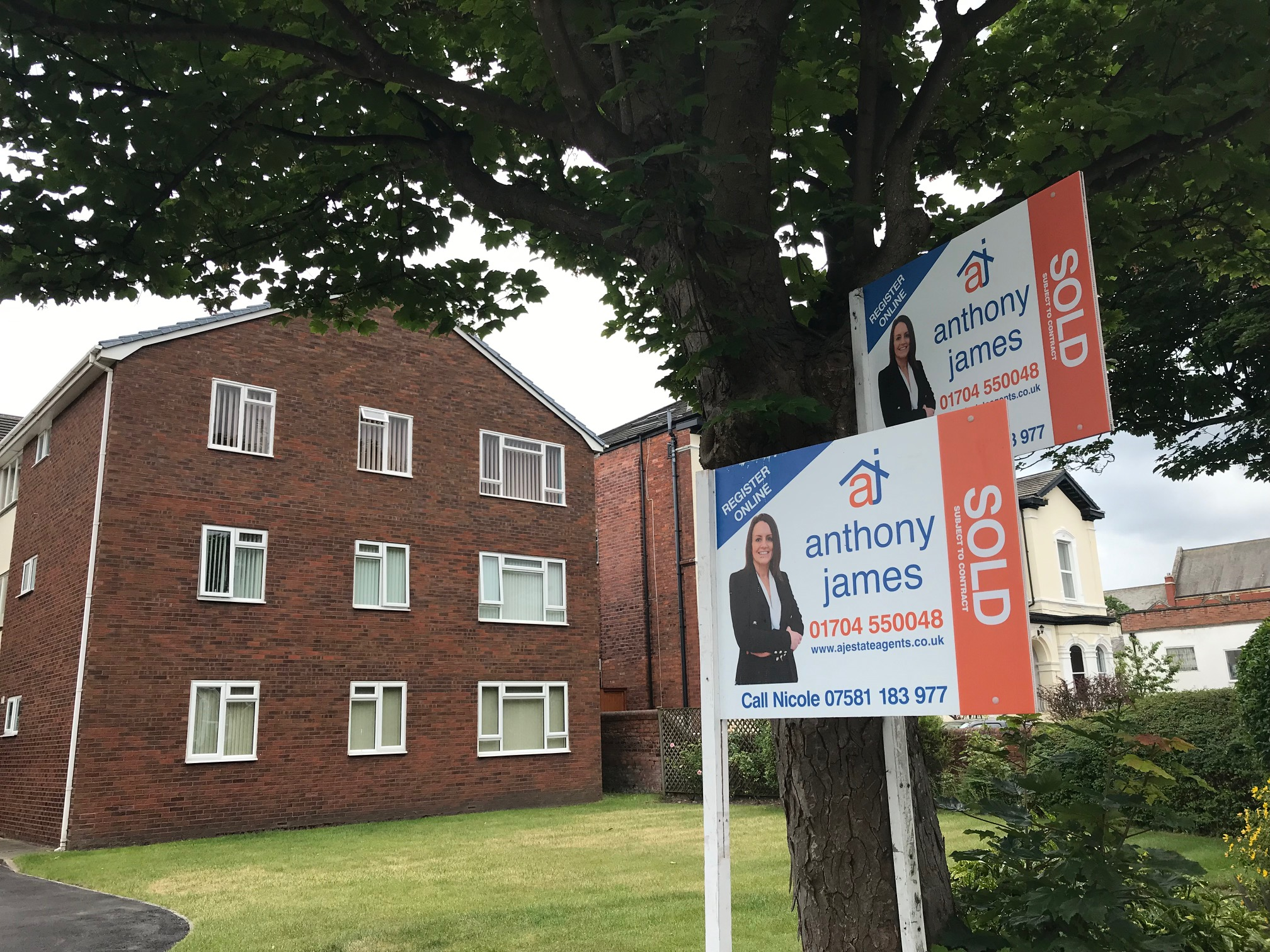 Nicole Trowell is one of the Associate Partners for Anthony James Estate Agents in Southport whose faces feature on their For Sale and Sold boards