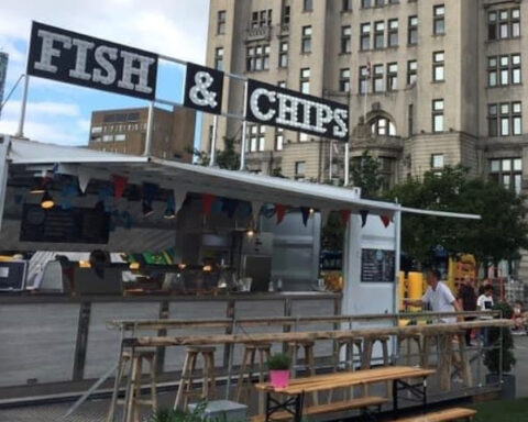 Pop-up food stalls open at Ainsdale Beach selling fish and chips plus coffee and cakes
