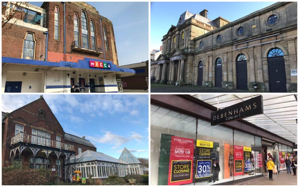 Landmark buildings in Southport: Garrick Theatre; Victoria Building; Botanic Gardens Museum; and Debenhams