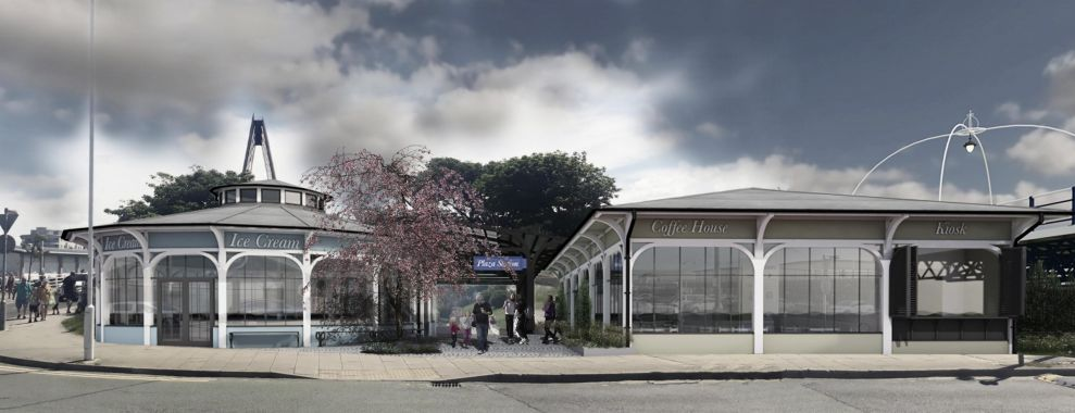 An artist's impression of the proposed new entrance for the Pleasureland Miniature Railway next to Ocean Plaza in Southport
