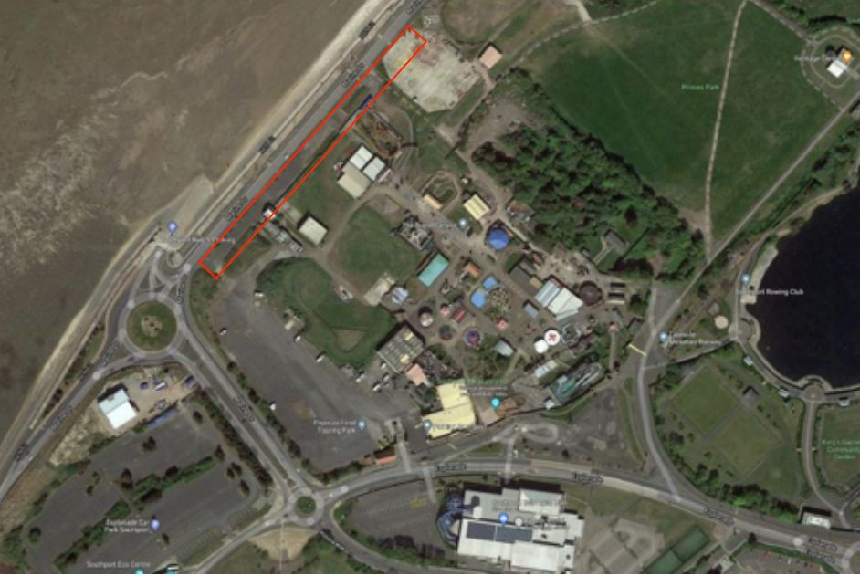 The red line shows where the new rollercoaster at Southport Pleasureland will be built