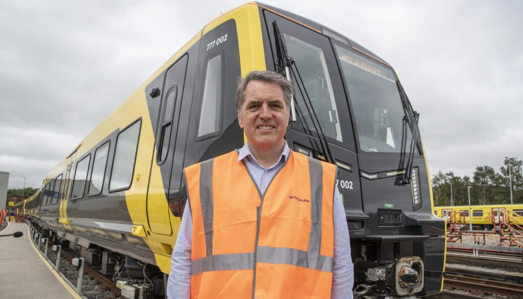 Liverpool City Region Metro Mayor Steve Rotheram with the new Merseyrail for All battery powered trains. Picture by Jason Roberts