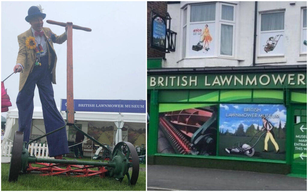The world's biggest lawnmower is on display at the British Lawnmower Museum in Southport